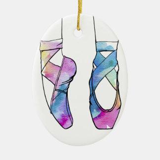 Ornamento De Cerâmica Calçados de balé bonitos da dança da aguarela para