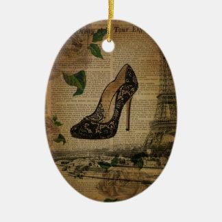 Ornamento De Cerâmica Calçados femininos do vintage da torre Eiffel de