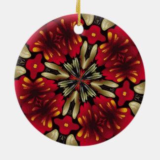 Ornamento De Cerâmica Caleidoscópio vermelho tropical da mandala