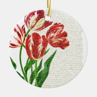 Ornamento De Cerâmica Caligrafia vermelha das tulipas