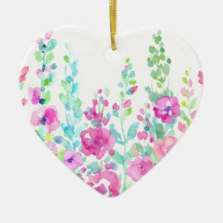 Ornamento De Cerâmica Cama floral abstrata da aguarela