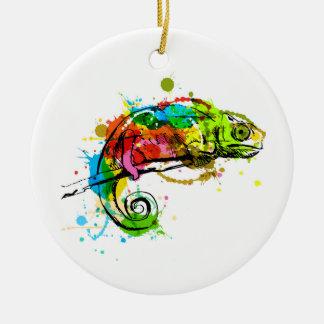 Ornamento De Cerâmica Camaleão colorido do esboço da mão