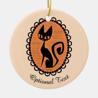 Ornamento De Cerâmica Cameo do gato preto do Dia das Bruxas