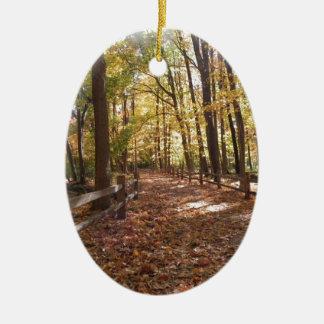 Ornamento De Cerâmica Caminhada da queda no parque e nas cores em