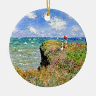 Ornamento De Cerâmica Caminhada de Clifftop em Pourville - Claude Monet