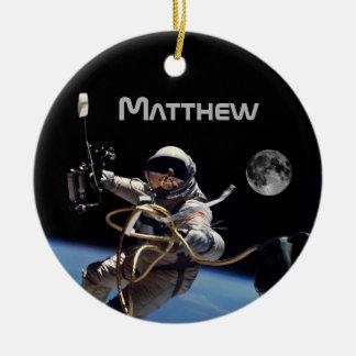 Ornamento De Cerâmica Caminhada pessoal do espaço do astronauta