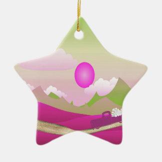Ornamento De Cerâmica Caminhão cor-de-rosa dos corações brancos que