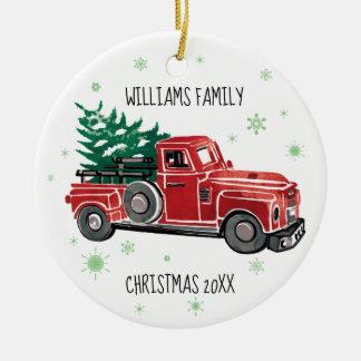 Ornamento De Cerâmica Caminhão do vintage do Natal com flocos de neve