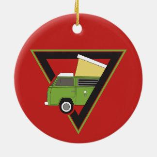 Ornamento De Cerâmica camionete de campista verde clássica do triângulo
