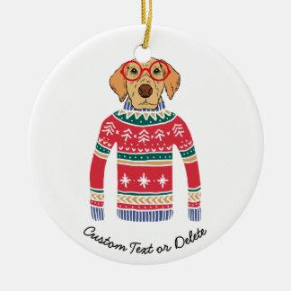 Ornamento De Cerâmica Camisola feia engraçada do Natal, cão que veste