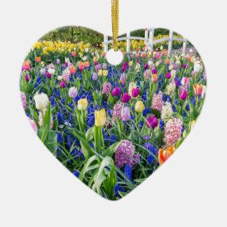 Ornamento De Cerâmica Campo de flores com jacintos e ponte das tulipas