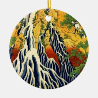 Ornamento De Cerâmica Camponeses e cachoeira