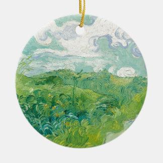 Ornamento De Cerâmica campos de trigo verdes de Van Gogh