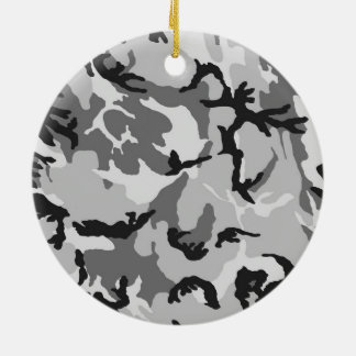 Ornamento De Cerâmica Camuflagem do preto do branco cinzento
