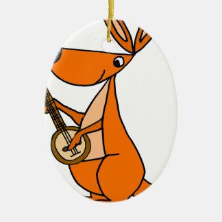 Ornamento De Cerâmica Canguru bonito que joga desenhos animados do banjo