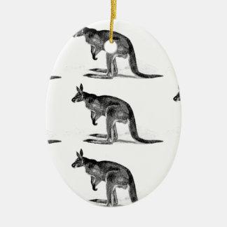 Ornamento De Cerâmica canguru encaixotado - no quadrado
