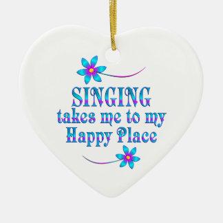 Ornamento De Cerâmica Cantando meu lugar feliz