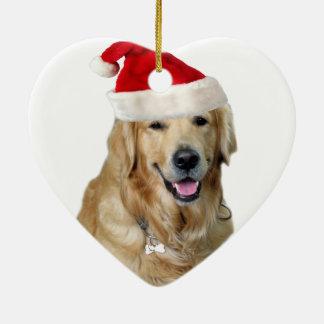 Ornamento De Cerâmica Cão-animal de estimação do cão-papai noel de claus