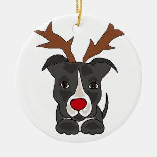 Ornamento De Cerâmica Cão cinzento engraçado de Pitbull como a rena do