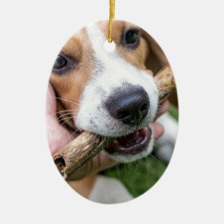 Ornamento De Cerâmica Cão com vara