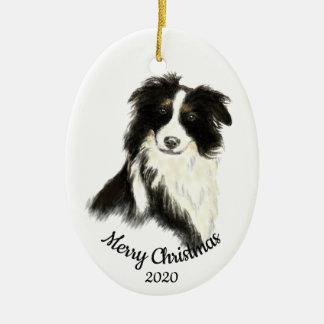 Ornamento De Cerâmica Cão datado de border collie da aguarela do Natal