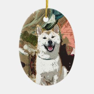 Ornamento De Cerâmica Cão de Akita Inu