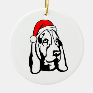 Ornamento De Cerâmica Cão de Basset Hound com o chapéu do papai noel do