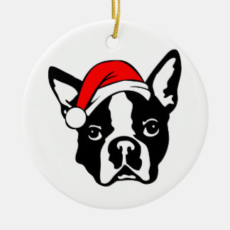 Ornamento De Cerâmica Cão de Boston_Terrier com o chapéu do papai noel