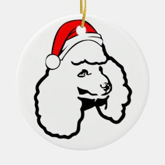 Ornamento De Cerâmica Cão de caniche com o chapéu do papai noel do Natal