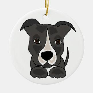 Ornamento De Cerâmica Cão de filhote de cachorro cinzento bonito de