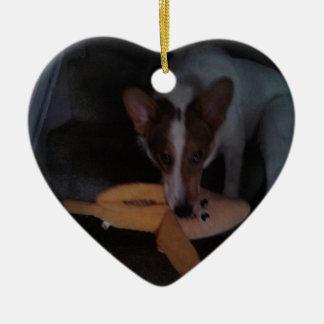 Ornamento De Cerâmica Cão de filhote de cachorro da forma do coração com