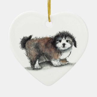 Ornamento De Cerâmica Cão de filhote de cachorro de Shihtzu, animal de