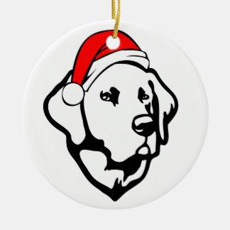 Ornamento De Cerâmica Cão de Labrador com o chapéu do papai noel do