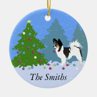 Ornamento De Cerâmica Cão de Papillon que decora a árvore de Natal na