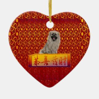 Ornamento De Cerâmica Cão de Pekingese no ano novo chinês feliz
