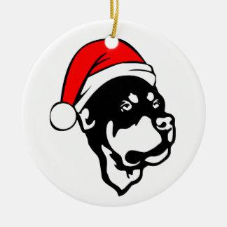 Ornamento De Cerâmica Cão de Rottweiler que veste o chapéu vermelho do