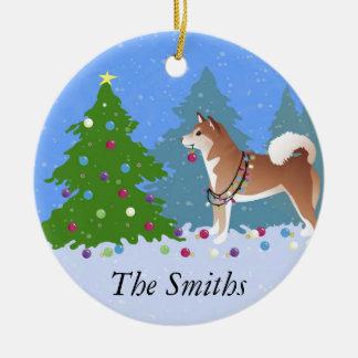 Ornamento De Cerâmica Cão de Shiba Inu que decora a árvore de Natal