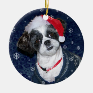 Ornamento De Cerâmica Cão de Shih Tzu do Natal