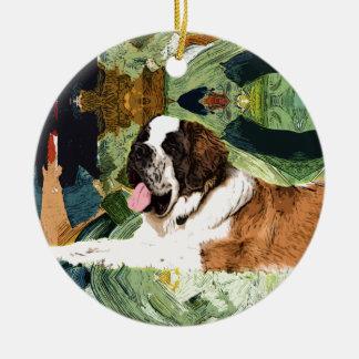 Ornamento De Cerâmica Cão de St Bernard