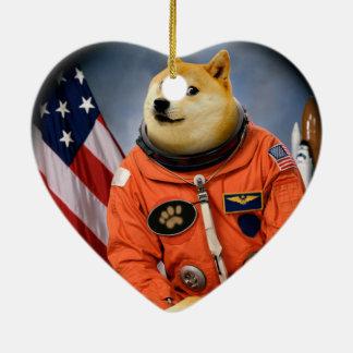 Ornamento De Cerâmica cão do astronauta - doge - shibe - memes do doge