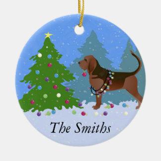 Ornamento De Cerâmica Cão do Bloodhound que decora a árvore de Natal
