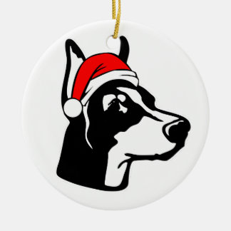 Ornamento De Cerâmica Cão do Doberman com o chapéu do papai noel do