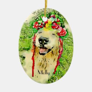 Ornamento De Cerâmica Cão do golden retriever com a aguarela da coroa da