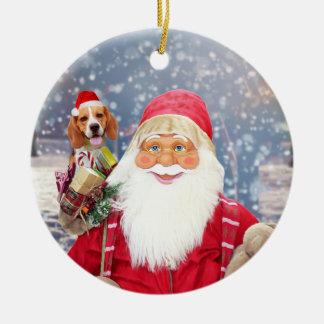 Ornamento De Cerâmica Cão do lebreiro dos presentes do Natal de Papai