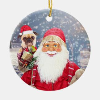 Ornamento De Cerâmica Cão do Pug dos presentes do Natal de Papai Noel w