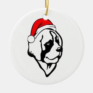 Ornamento De Cerâmica cão do saint_Bernard com o chapéu do papai noel do