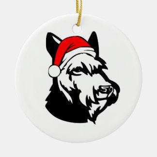 Ornamento De Cerâmica Cão do Schnauzer com o chapéu do papai noel do