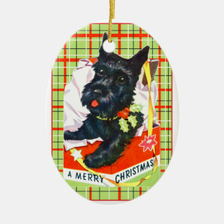 Ornamento De Cerâmica Cão do Scottie de Terrier do Scottish com presente