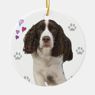 Ornamento De Cerâmica Cão do Spaniel de Springer inglês