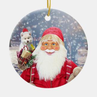 Ornamento De Cerâmica Cão Eskimo americano dos presentes do Natal de